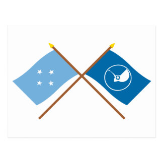 Crossed Flags of Micronesia and Yap Postcard