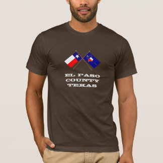Crossed Flags of Texas and El Paso County T-Shirt