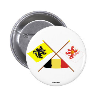 Crossed Flanders and Limbourg Flags with Belgium 2 Inch Round Button