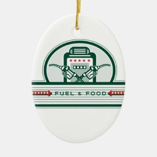 Crossed Fuel Nozzle Gas Pump Retro Ceramic Ornament