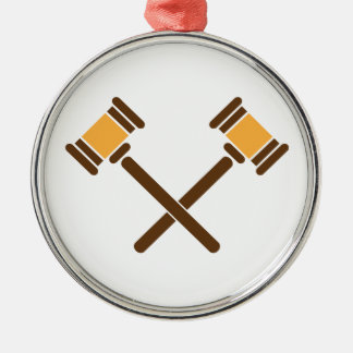 Crossed Gavels Metal Ornament