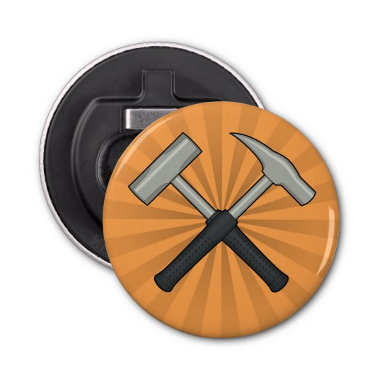 Crossed Geology Hammers with Sunburst Button Bottle Opener