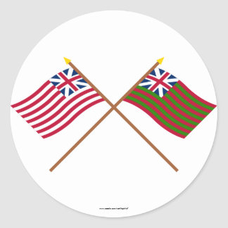 Crossed Grand Union and Grand Union Naval Flags Classic Round Sticker