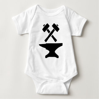 Crossed hammer anvil baby bodysuit