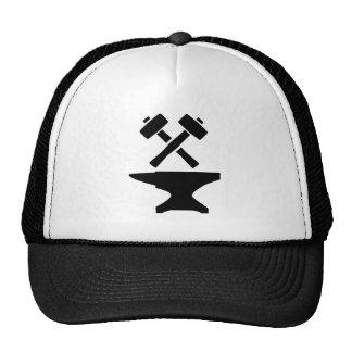 Crossed hammer anvil trucker hat