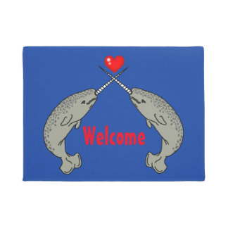Crossed Horn Narwhal Welcome Doormat