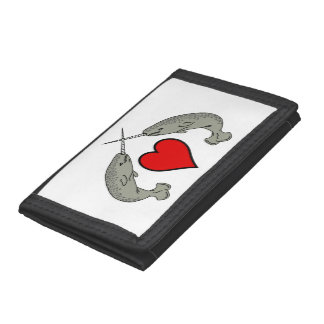 Crossed Horns Narwhals and Heart Trifold Wallet