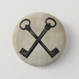 Crossed keys 2 inch round button