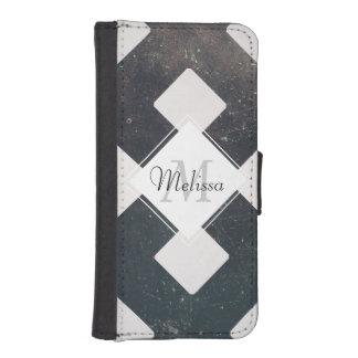 Crossed Lines, Scratchy Pattern, Rhombuses iPhone SE/5/5s Wallet Case
