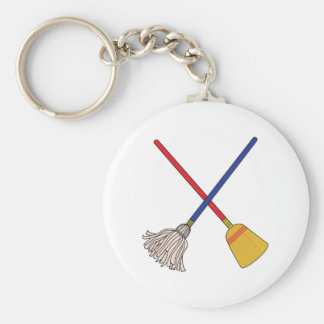 Crossed Mop & Broom Keychain