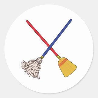 Crossed Mop & Broom Round Sticker