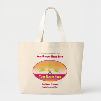 Crossed Palms Group Cruise Custom Large Tote Bag