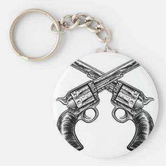 Crossed Pistol Gun Revolvers Vintage Woodcut Style Basic Round Button Keychain