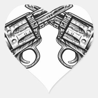 Crossed Pistol Gun Revolvers Vintage Woodcut Style Heart Sticker