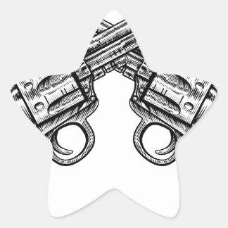 Crossed Pistol Gun Revolvers Vintage Woodcut Style Star Sticker
