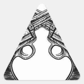 Crossed Pistol Gun Revolvers Vintage Woodcut Style Triangle Sticker