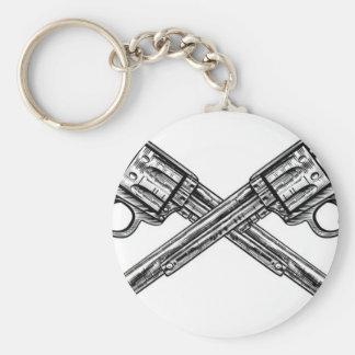 Crossed Pistol Guns Basic Round Button Keychain