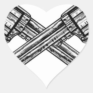Crossed Pistol Guns Heart Sticker