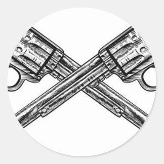 Crossed Pistol Guns Round Sticker