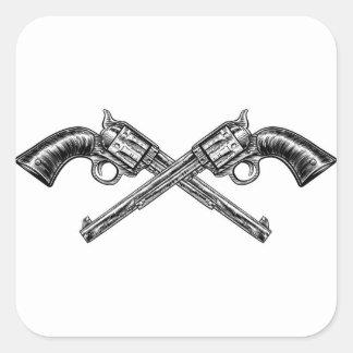 Crossed Pistol Guns Square Sticker