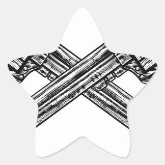 Crossed Pistol Guns Star Sticker