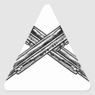 Crossed Pistol Guns Triangle Sticker