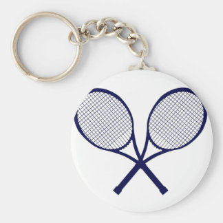 Crossed Rackets Silhouette Basic Round Button Keychain