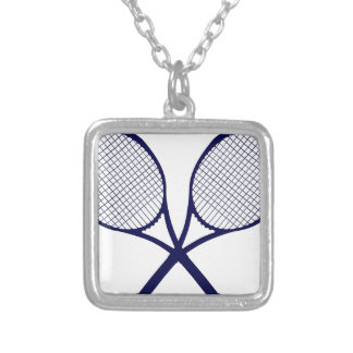 Crossed Rackets Silhouette Silver Plated Necklace