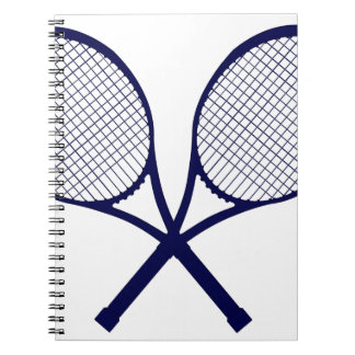 Crossed Rackets Silhouette Spiral Notebook