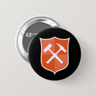 Crossed Rock Hammer Shield 2 Inch Round Button