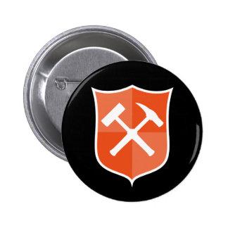 Crossed Rock Hammer Shield 2 Inch Round Button