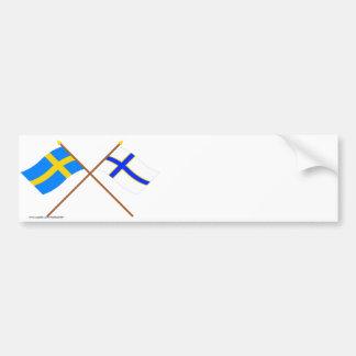 Crossed Sweden and Sverigefinska flags Bumper Sticker
