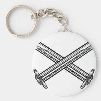 Crossed Swords Retro Style Keychain