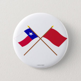 Crossed Texas and Alabama Red Rovers Flags 2 Inch Round Button