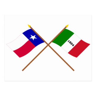 Crossed Texas and Alamo Flags Postcard