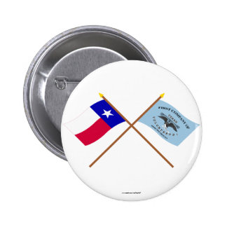 Crossed Texas and New Orleans Greys Flags 2 Inch Round Button