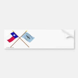 Crossed Texas and New Orleans Greys Flags Car Bumper Sticker