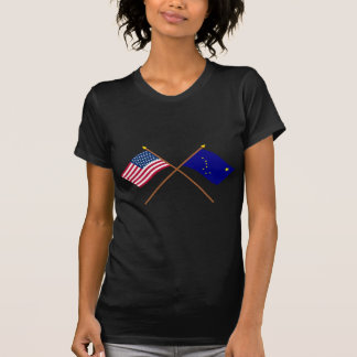 Crossed US 49-star and Alaska State Flags Shirt