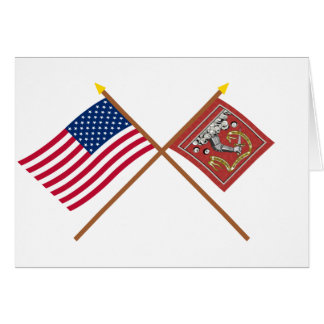 Crossed US and Bedford Flags Card