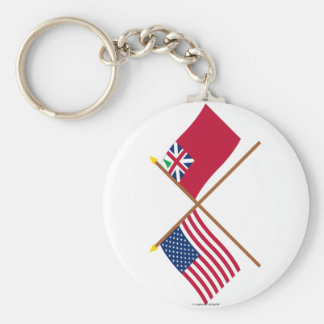 Crossed US Flag and  Pine Tree Red Ensign Basic Round Button Keychain