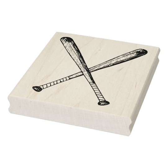 Crossed Vintage Wooden Baseball Bats Art Stamp