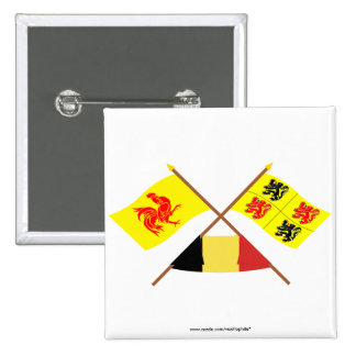Crossed Walloon and Hainaut Flags with Belgium 2 Inch Square Button