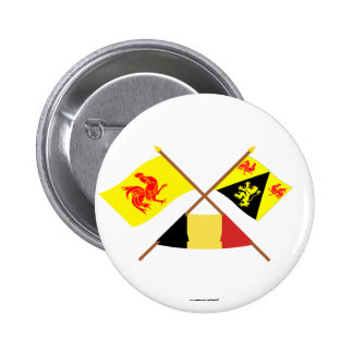 Crossed Walloon & Walloon Brabant Flags w Belgium Pins