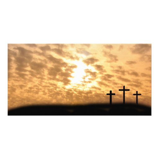 "Crosses on a Hill Easter ""He is Risen"" Photo Card"