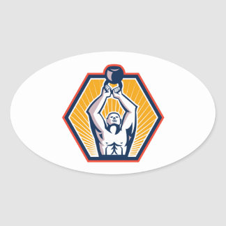 Crossift Athlete Lifting Kettlebell Front Retro Oval Sticker