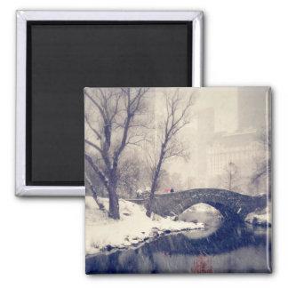 Crossing Bridges Through The Snow In Central Park Square Magnet