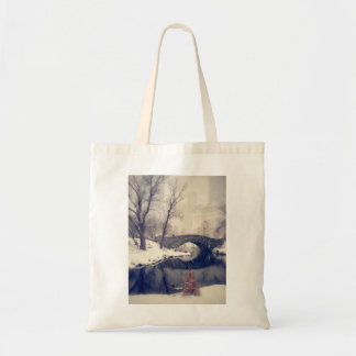 Crossing Bridges Through The Snow In Central Park Tote Bag