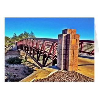 Crossing Urban Bridge Under Vibrant Blue Sky Card
