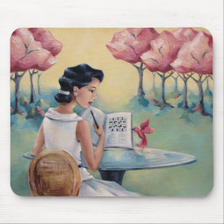 Crossword Girl & Bird Mousepad