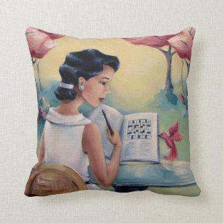 Crossword Girl & Bird Throw Pillow